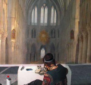 Conservation work being undertaken on Daguerre's last surviving diorama in Bry-Sur-Marne