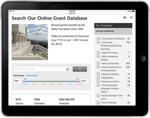 Getty Foundation Launches Searchable Online Grant Database