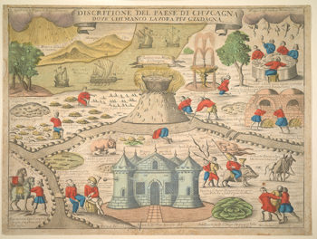 Hand-Colored Print Depicts the Land of Cockaigne, Mythical World of Self-Indulgence
