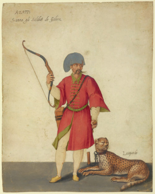 A Smartly Costumed Soldier and His Fierce Cat