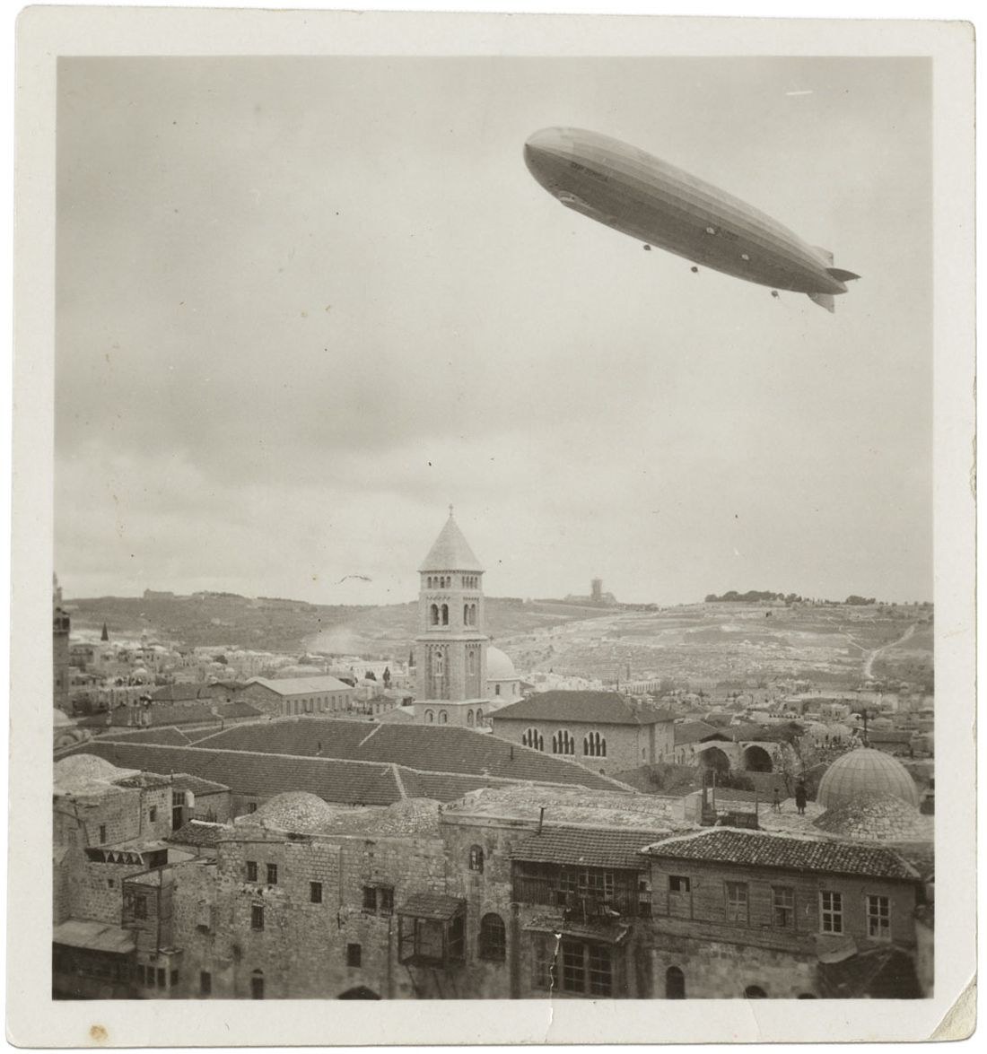 Hindenburg zeppelin over Jerusalem