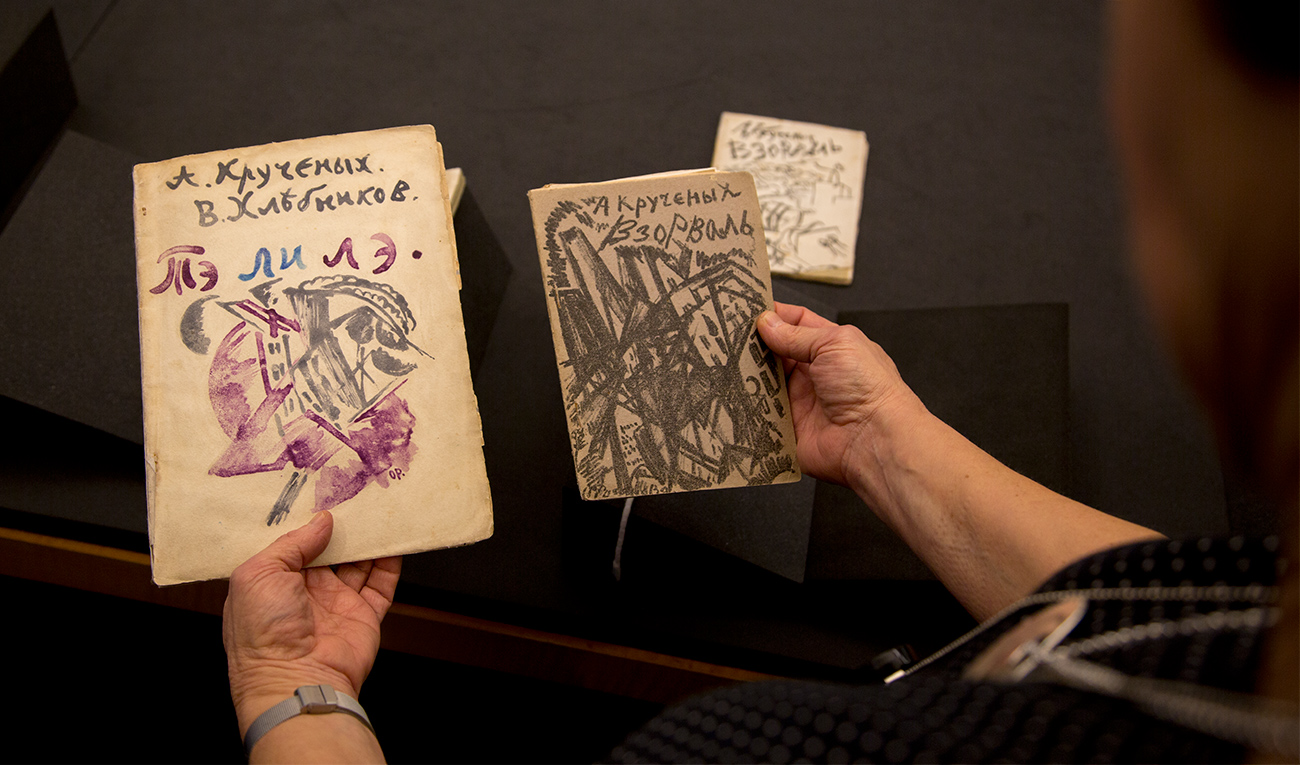 A woman's hands hold two books, one slightly larger and designed in blues and pinks, the other smaller and designed with dense black lines