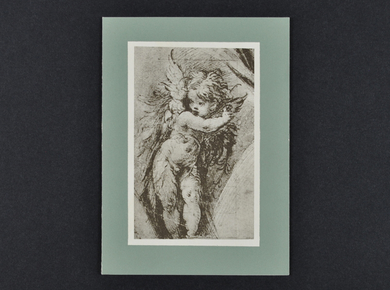 Drawing of a cupid on card