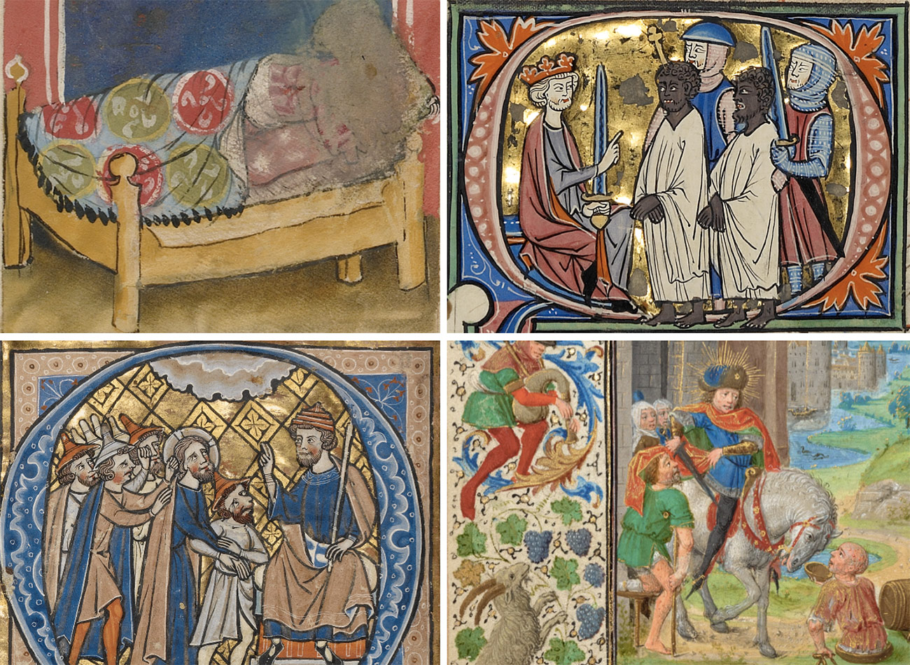 Four details from medieval illuminated manuscripts showing non-normative figures of the Middle Ages