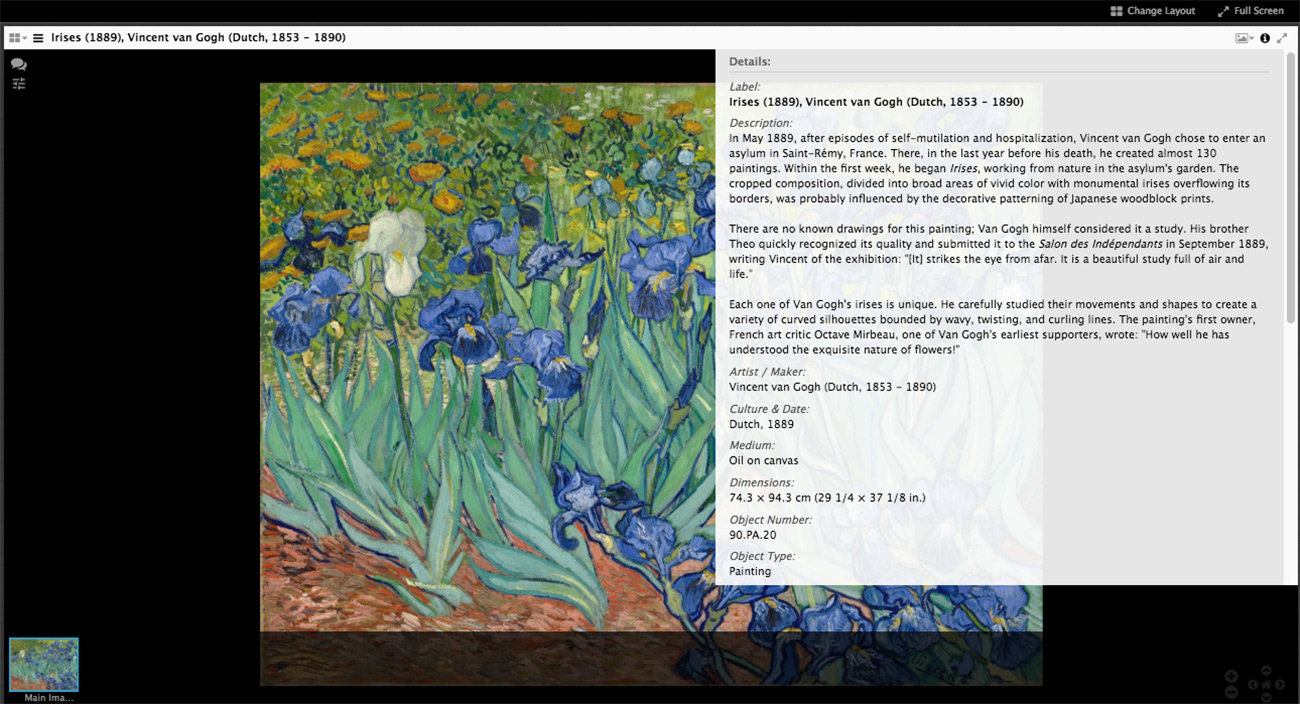 Screen capture of a Van Gogh painting with a semi-transparent overlay listing the object details