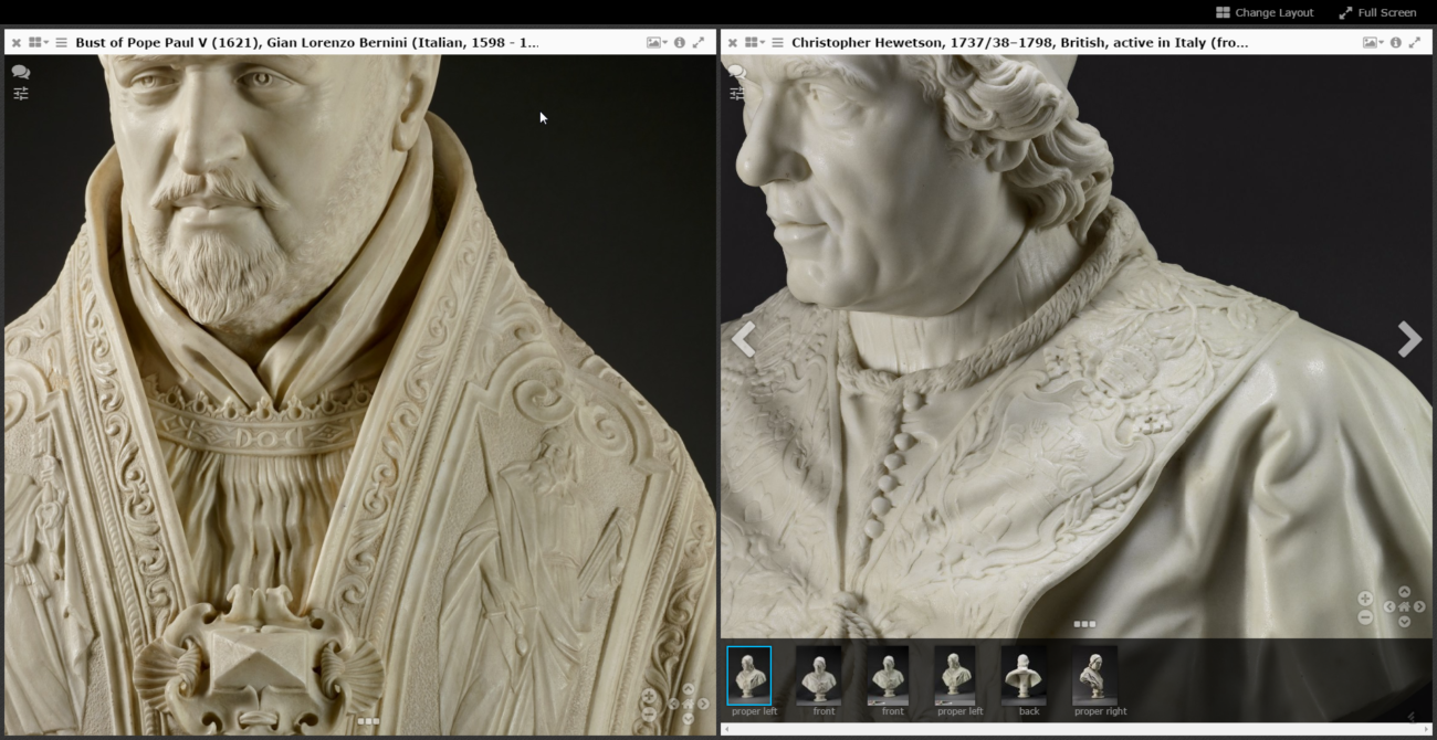 Screen capture showing details of two carved marble sculptures of male popes