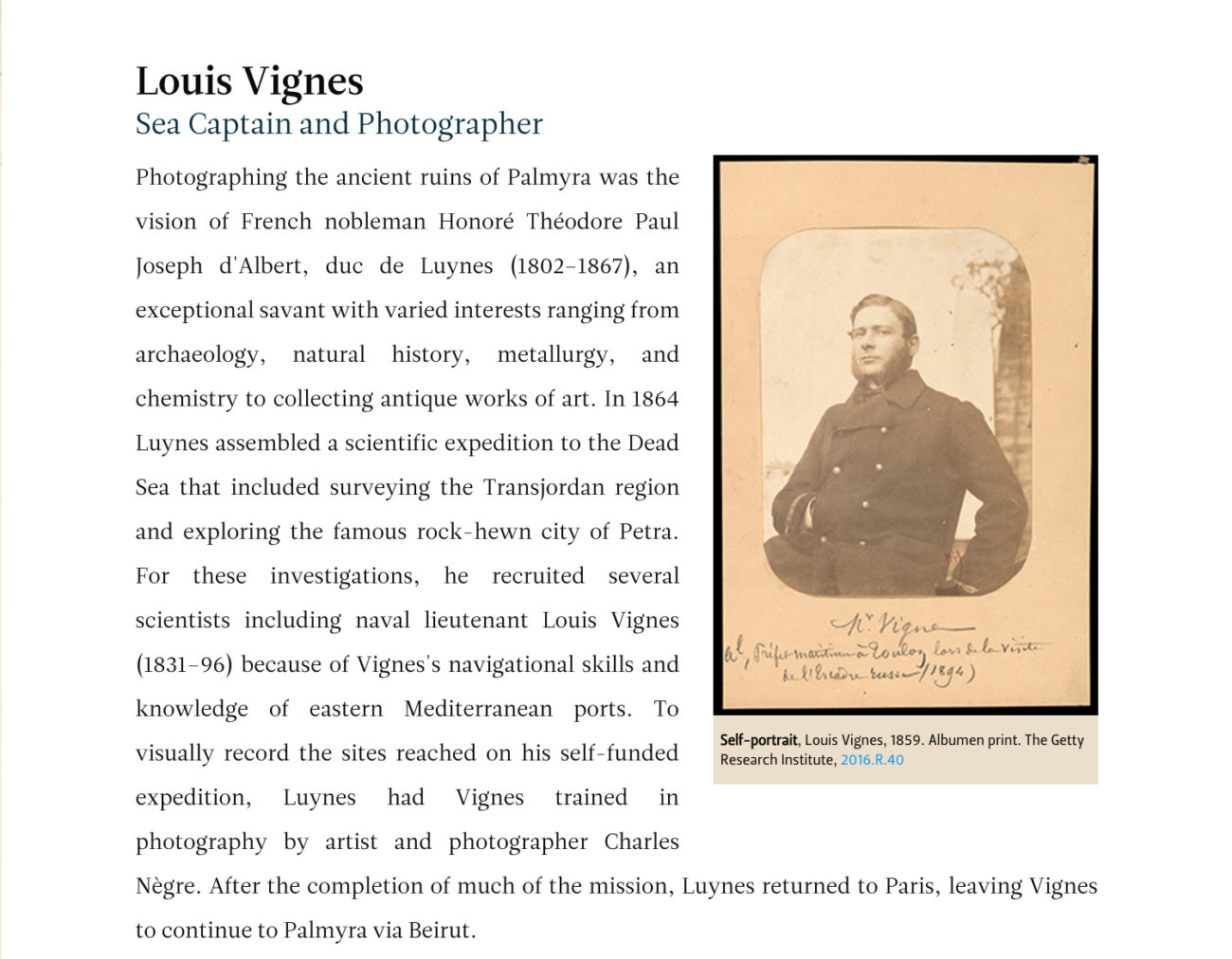 Sepia-toned image of a 19th-century man juxtaposed with website text about him