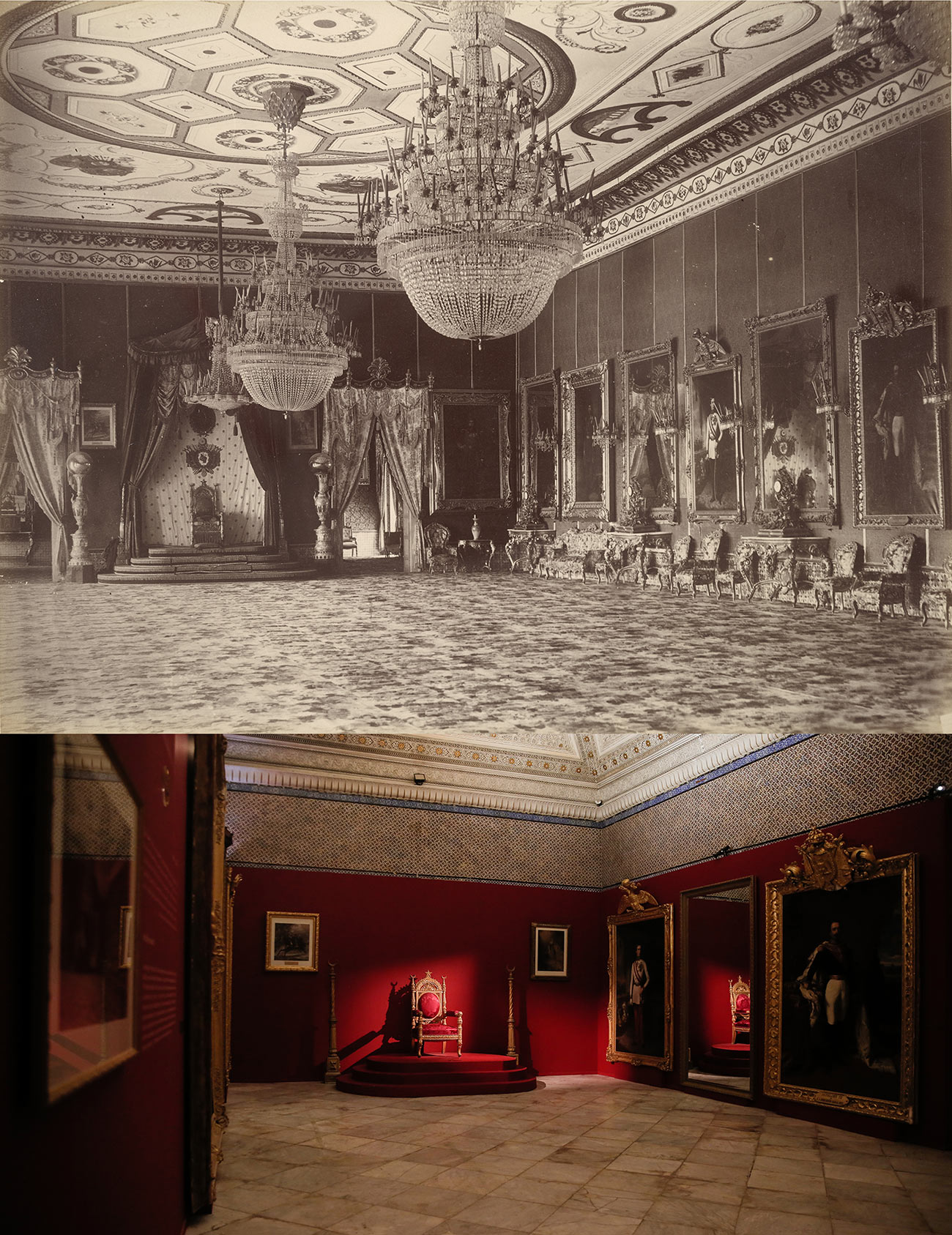 A sepia-toned historic photograph and a recent color photograph showing the interior of an elaborate ballroom with chandeliers