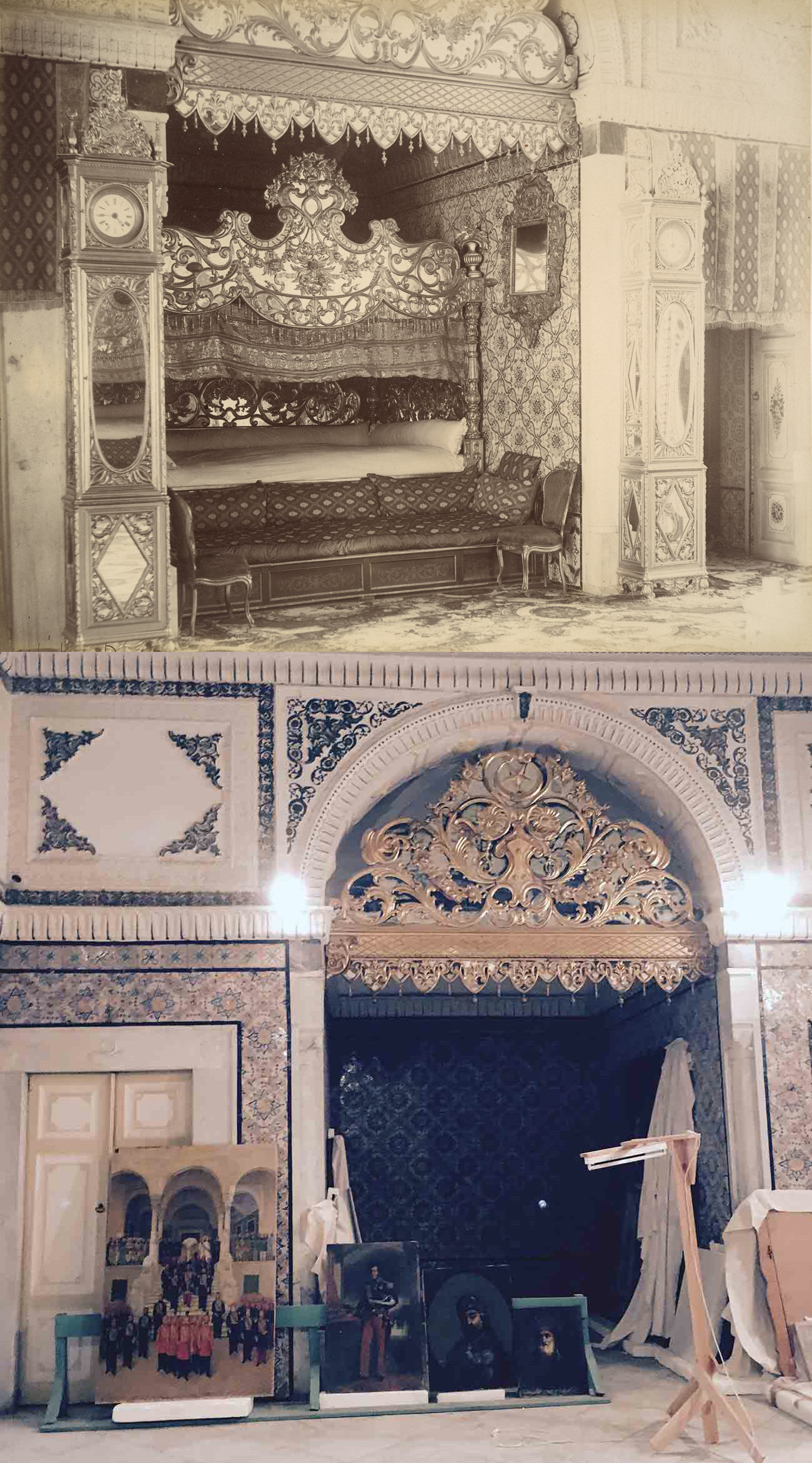 Two views of the same alcove in Qsar es-Saïd palace, one showing its original use as a bedroom and the other showing its later use as a storage cubby for paintings
