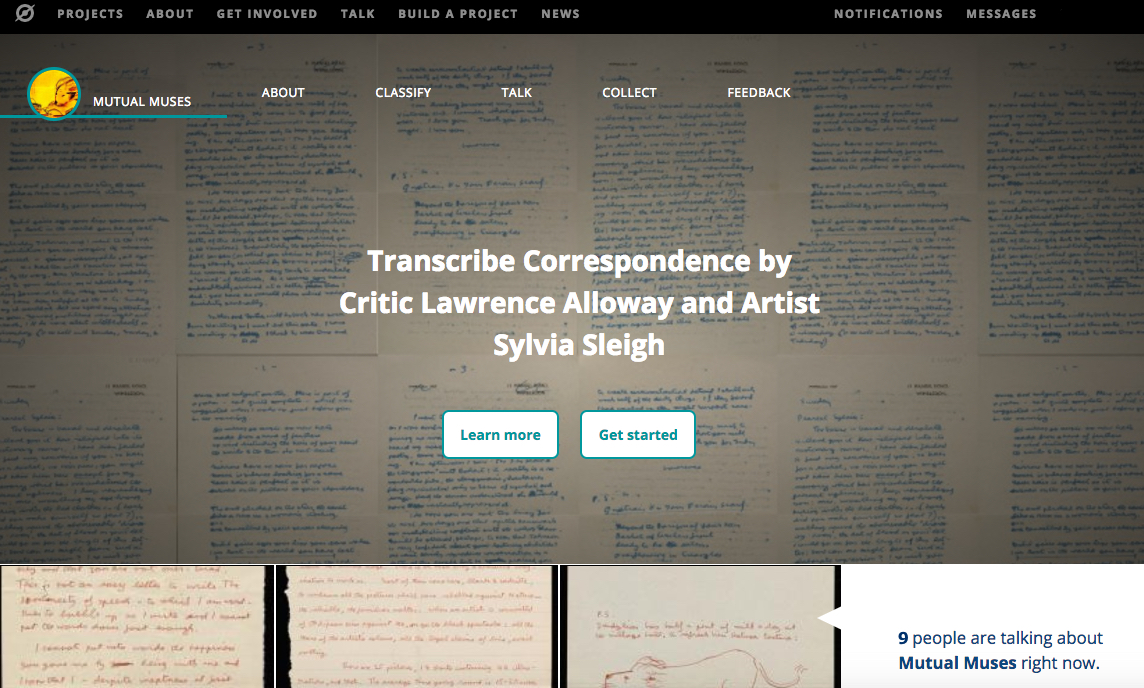 Screen capture of the transcription platform Zooniverse showing the Mutual Muses project to transcribe artists' letters