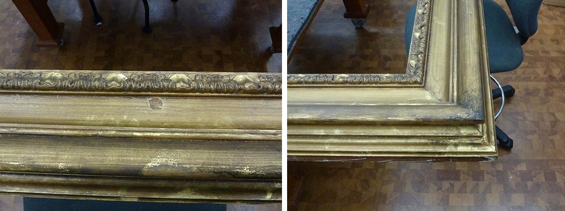 Two images of frames with smudges and smears in the dirty patina on the gold leaf frame.