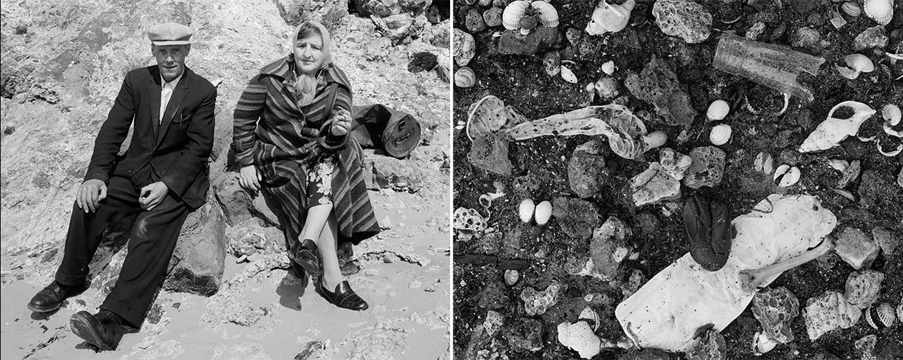 Left: The image contains a couple at the beach, looking directly at the camera and sitting on the rocks. Right: the image contains a close up of trash in the sand on the beach.