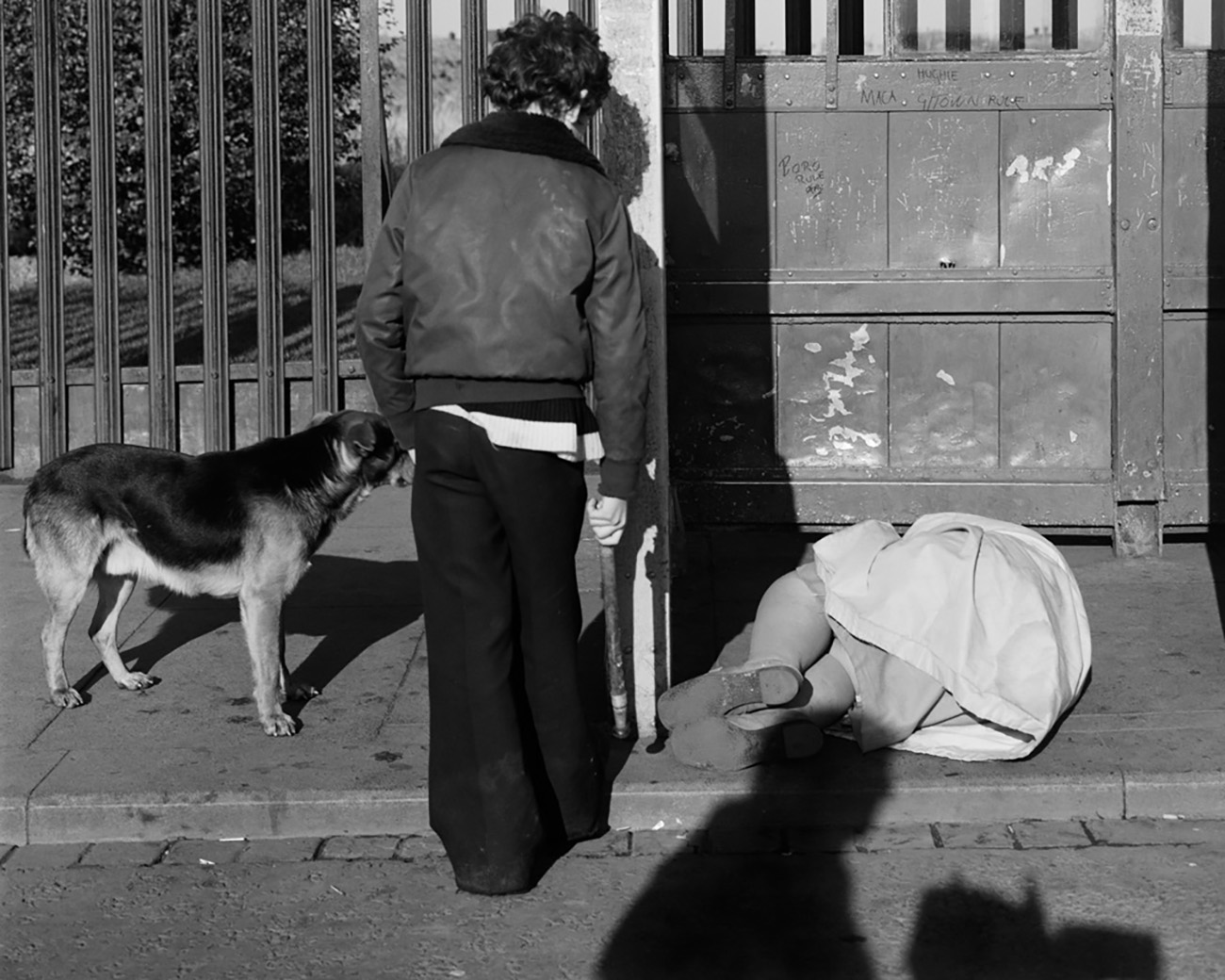The frame of the image contains a section of a bus stop, with a person and their dog looking down on another person, in a fetal position on the floor.