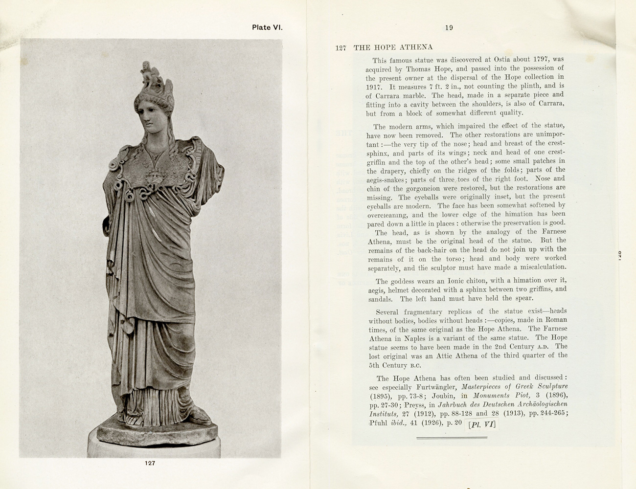 Scan of a 1933 auction catalog showing a marble sculpture of Athena