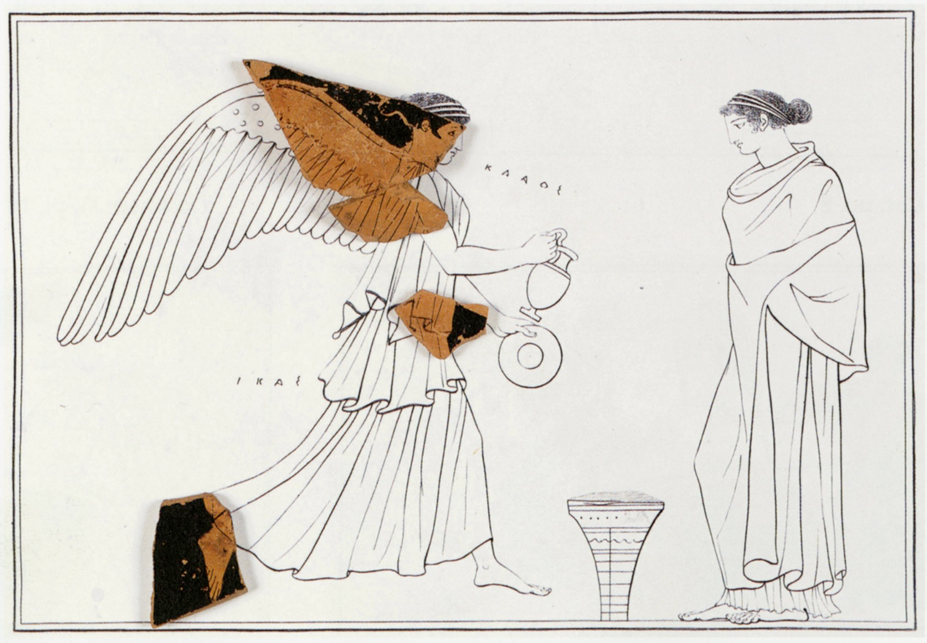Black and white sketch of two female figures depicted on an ancient vase, with small painted terracotta shards matched to the iconography