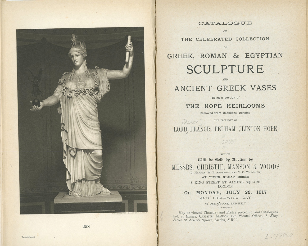 Scan of a 1917 auction catalog showing a black and white photograph of a marble statue of Athena with her left arm raised