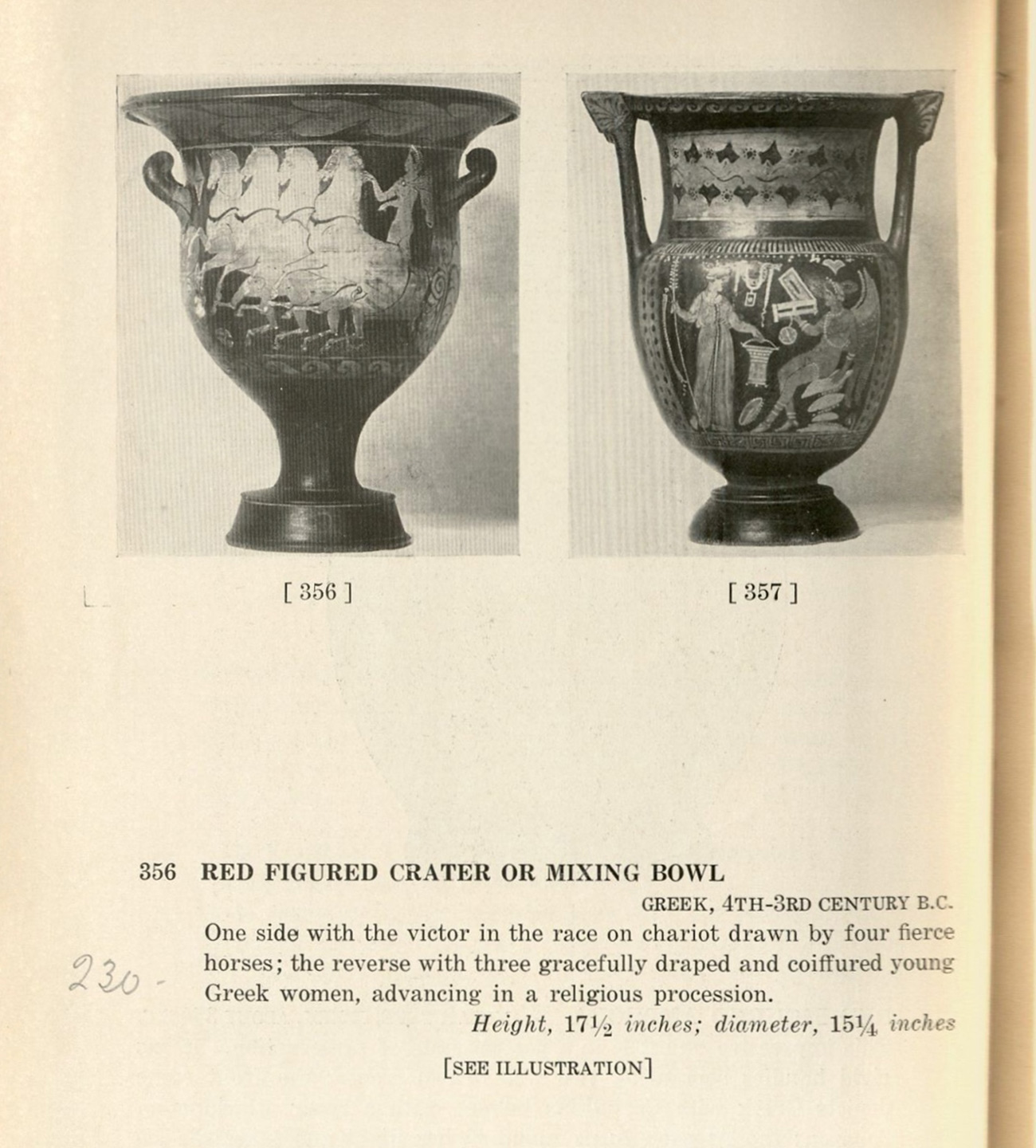 Scan of a page from a 1925 auction catalog showing the front and back of an ancient Greek vase