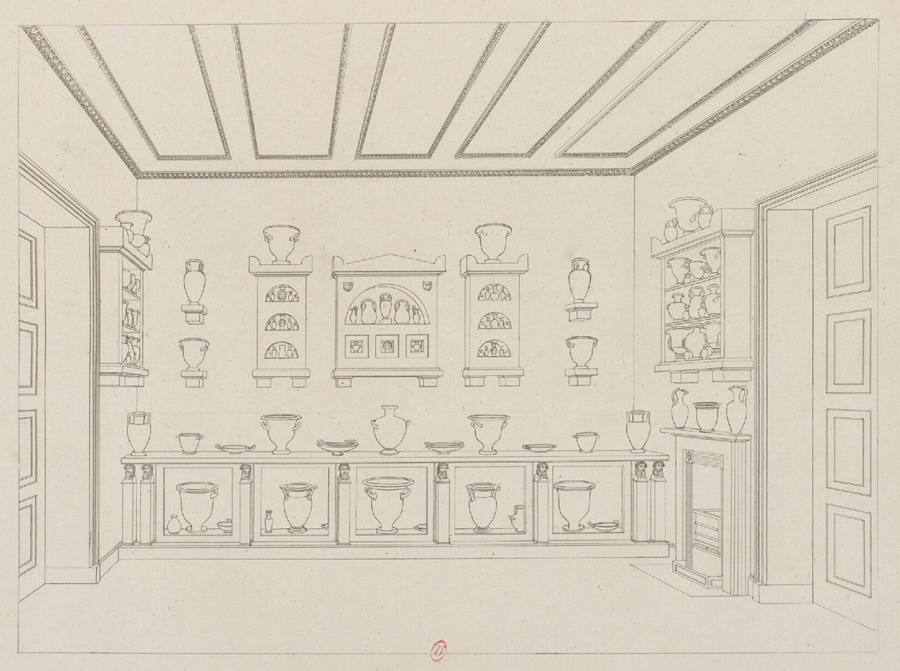 Line drawing of a gallery of Greek vases on shelves, on ledges on walls, and in cubbyholes