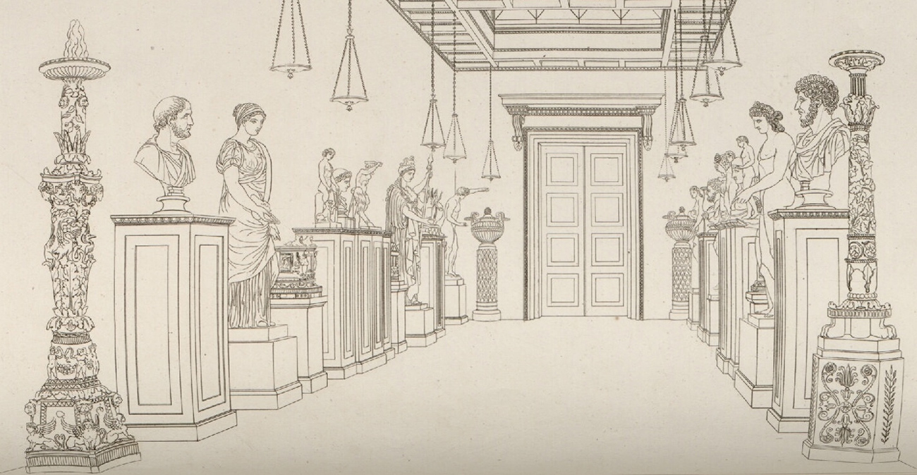 Line drawing of a gallery of Greek and Roman sculpture on pedestals lining the walls of a high-ceilinged room hung with lanterns