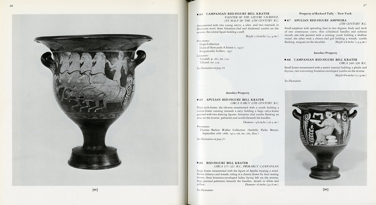 The 1978 Sotheby's Parke Bernet (New York) sale catalog featuring the Getty krater (lot 86), no mention of its Hope Collection provenance.
