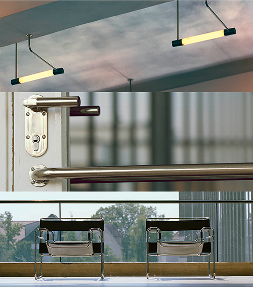 The image has three cross sections spliced together, depicting light fixtures, door handles and chairs respectively. All objects are designed for the Bauhaus Building Dessau.
