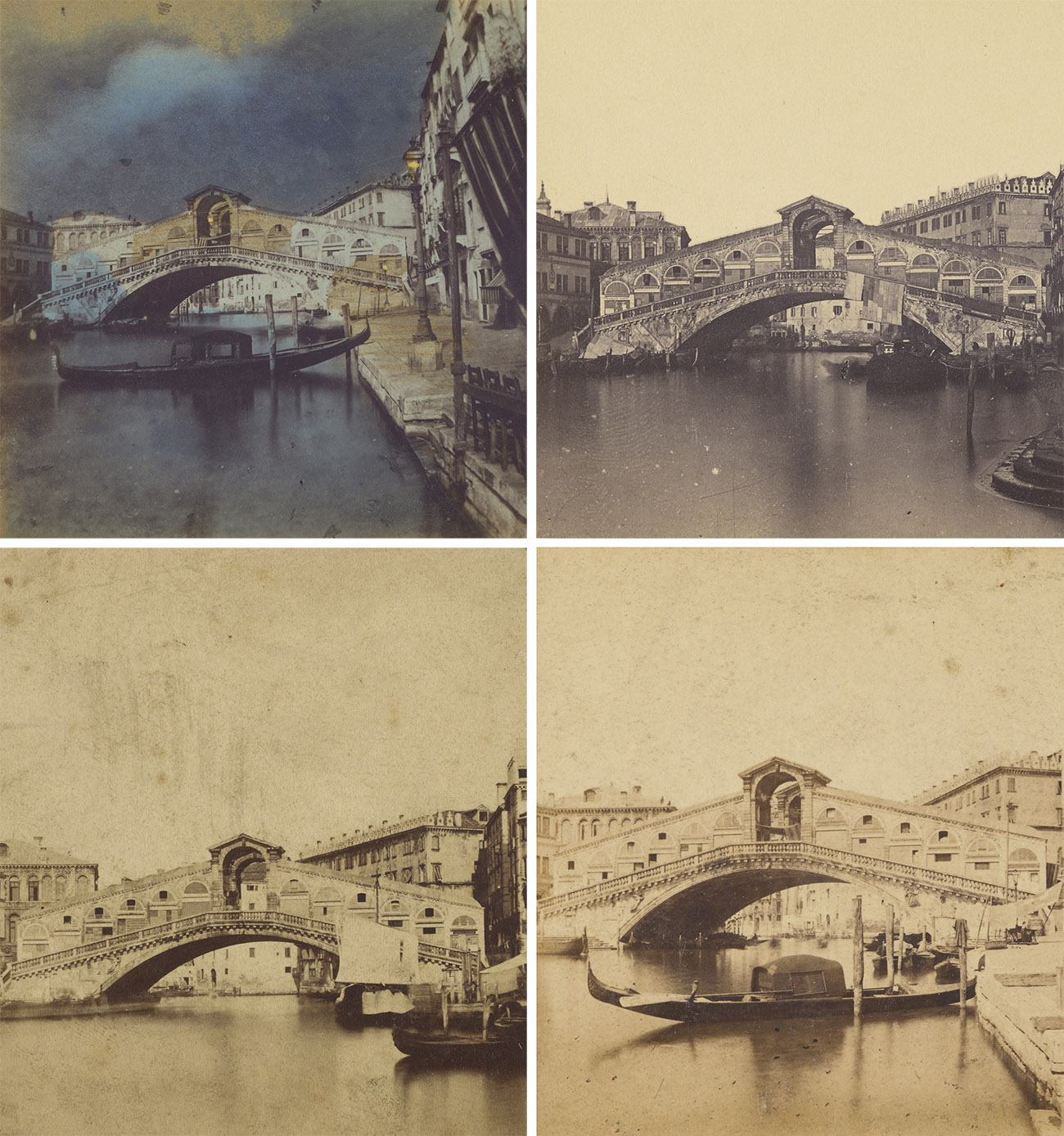 Clockwise: Detail of Rialto Bridge, Venice, about 1865, Italian. Hand-colored albumen silver print. The J. Paul Getty Museum, 84.XC.873.5379. Detail of Ponte di Rialto, about 1865, Italian. Albumen silver print. The J. Paul Getty Museum, 84.XC.873.5200. Detail of Bridge of the Rialto. - Venice, 1857 - 1860, Claudius E. Goodman. Albumen silver print. The J. Paul Getty Museum, 84.XC.979.448. Detail of Rialto Bridge, 1870s, Carlo Ponti. Albumen silver print. The J. Paul Getty Museum, 84.XC.873.8350.