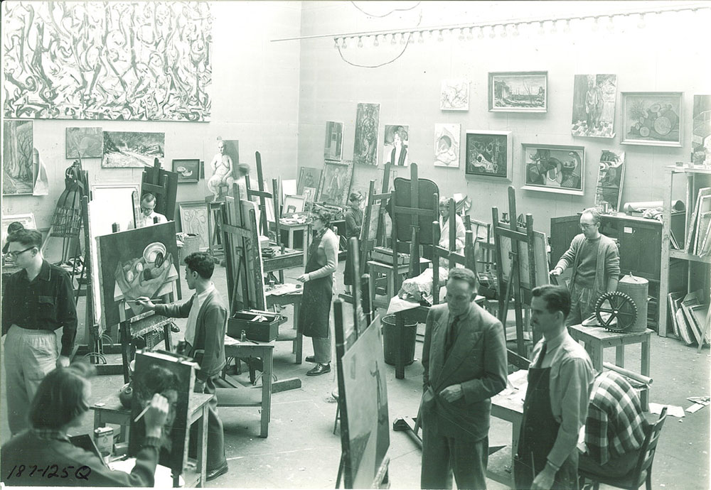 Jackson Pollock's Mural in University of Iowa painting studio / Frederick W. Kent