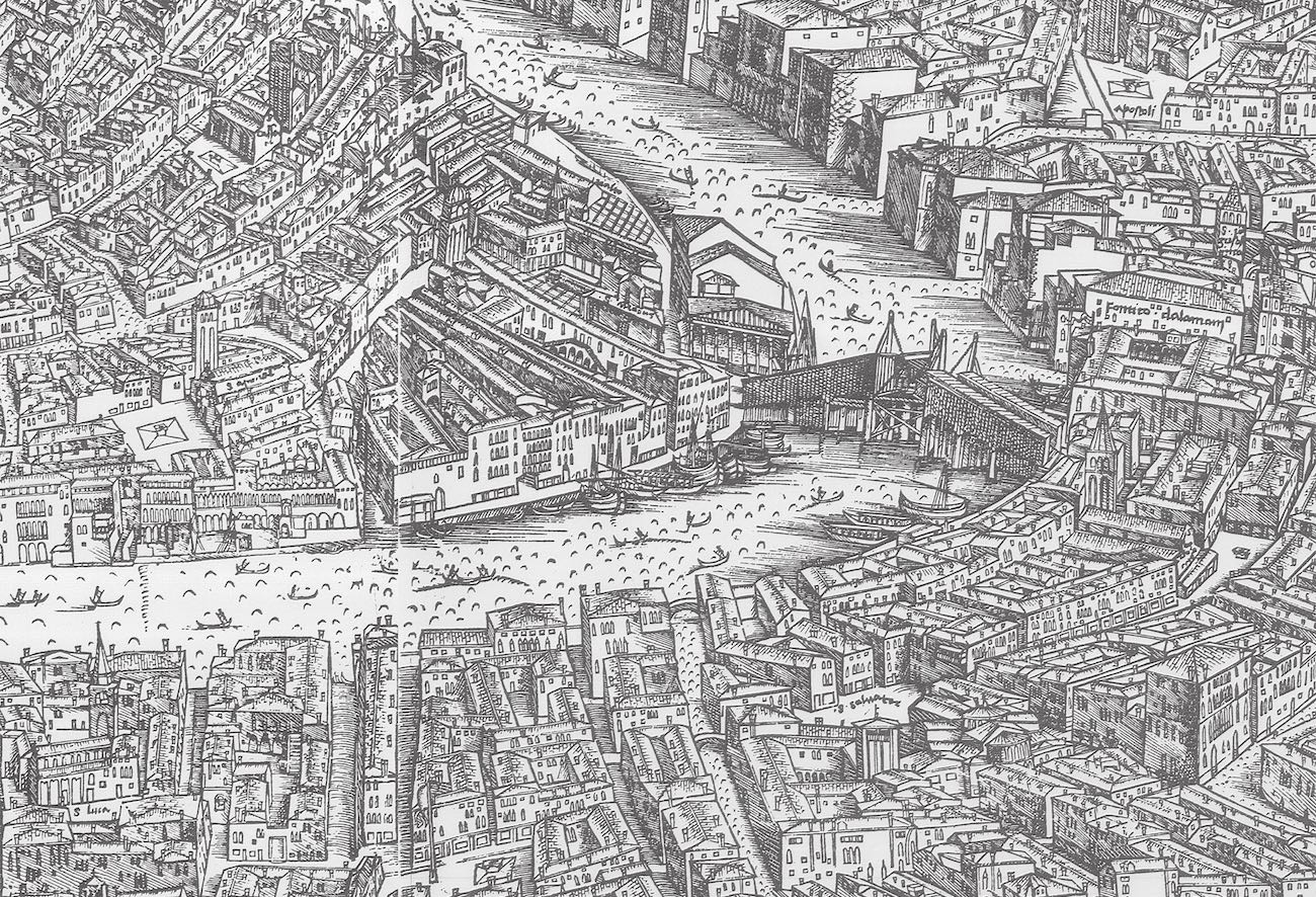 Black and white woodcut showing a bird's-eye view of Venice as it looked in the late Middle Ages