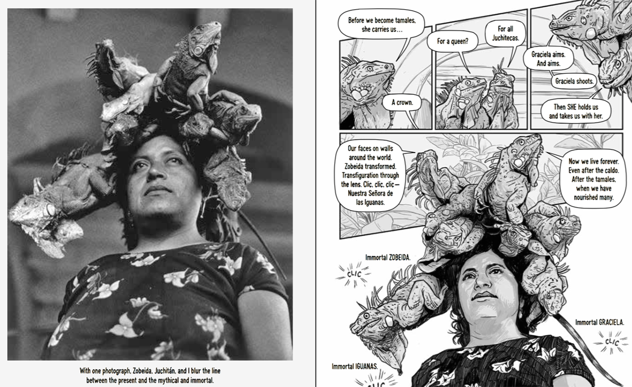 The photograph by Graciela Iturbide and how Zeke illustrated the image for Photographic: The Life of Graciela Iturbide.