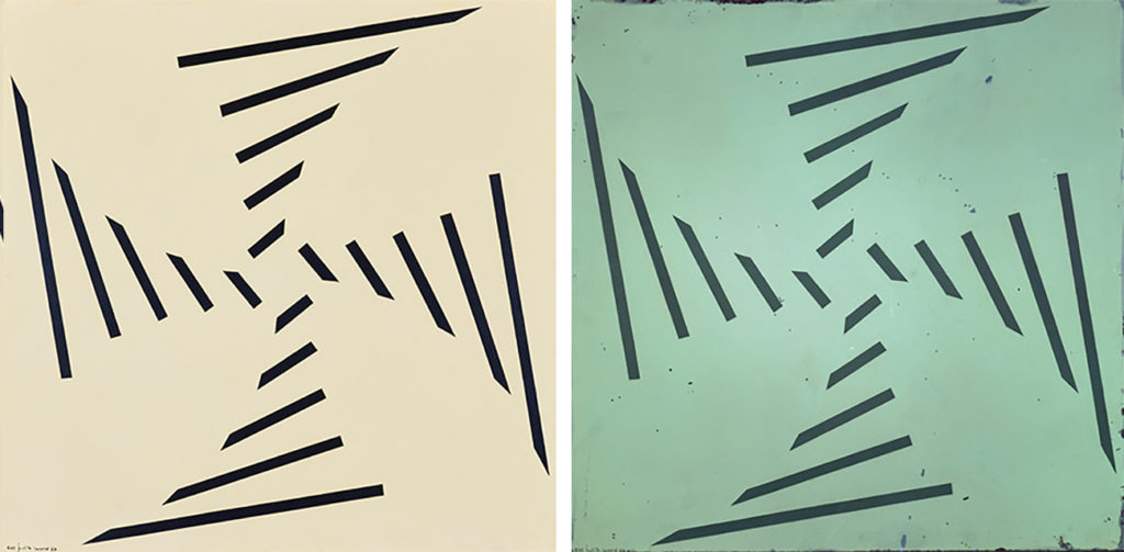 At left, image of Concreto 61 shows black lines in a cross pattern on a beige ground. At right, under UV light the painting's background looks green with small black splotches.