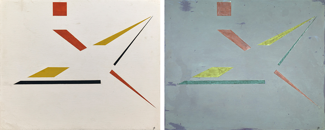 At left, image of Objeto plástico under visible light shows a somewhat star-like arrangement of red, dark yellow, and black shapes—some thin triangles, one square, one parallelogram, and one almost rectangle. The background is a light beige-gray. At right, the painting under UV shows the background as a grayish purple, the yellow shapes are a lighter lemon yellow, the black shapes look blue-green, and the red shapes light rust.