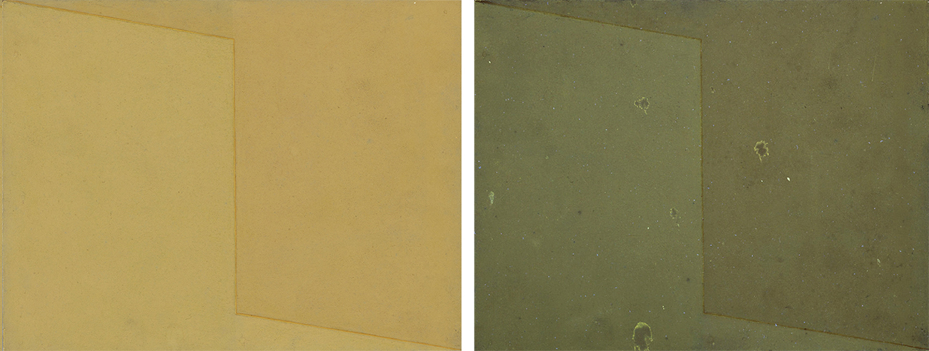 At left, visible light of Cromática 6 shows a beigish-yellow rectangle bisected by a line that starts at the upper left corner, dips down to become a vertical line at center, and then dips down again to the right corner. The right side of the canvas is a darker shade of the color on the left. At right, the UV image of the painting renders as slightly different greens with darker splotches mostly in the middle of the canvas.