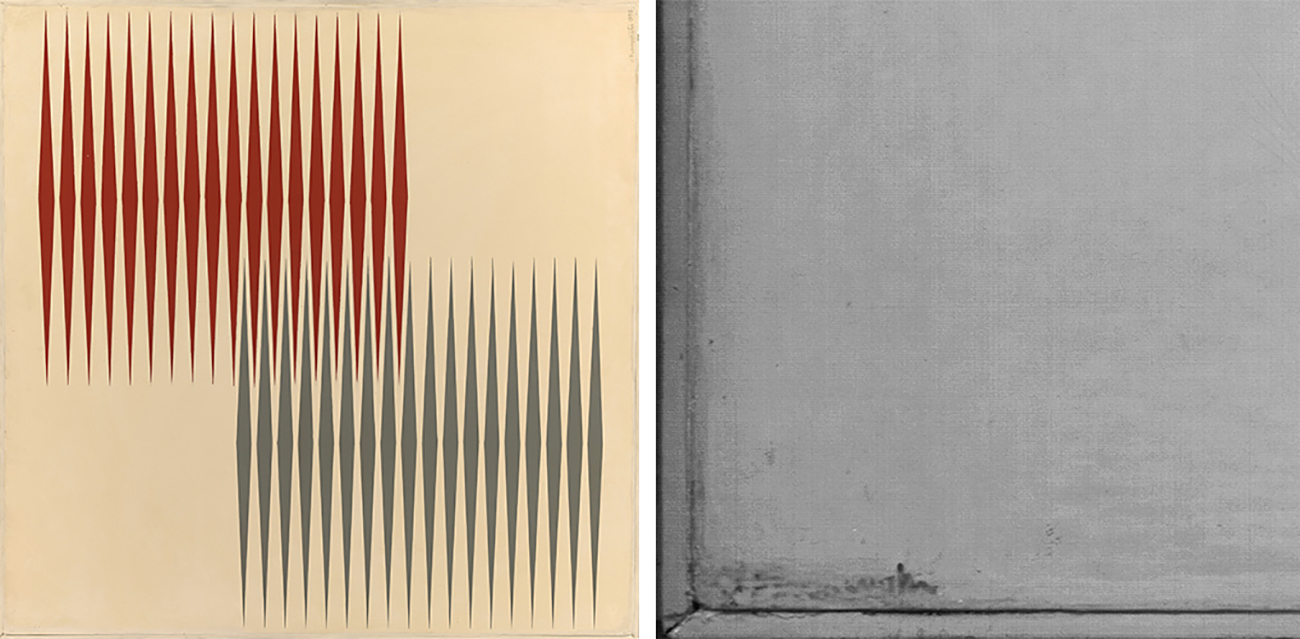 At left, visible light image of Alternado 2 shows red and gray lines on a beige background. At right, infrared image of the lower left corner of the painting shows a gray image in which a signature is visible, though it was painted over.