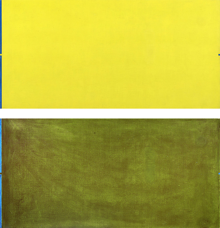 At top, image of Object ativo (amarelo) under visible light is a yellow rectangle with a thin line of blue at the far left. In the middle of the blue line is a small yellow square. At the far right of the painting, a small blue square mirrors the placement of the small yellow square. At bottom is an image of the painting under UV light. The yellow of the painting looks green and brushstrokes are visible. The blue is a lighter, more translucent blue than in the visible light image.