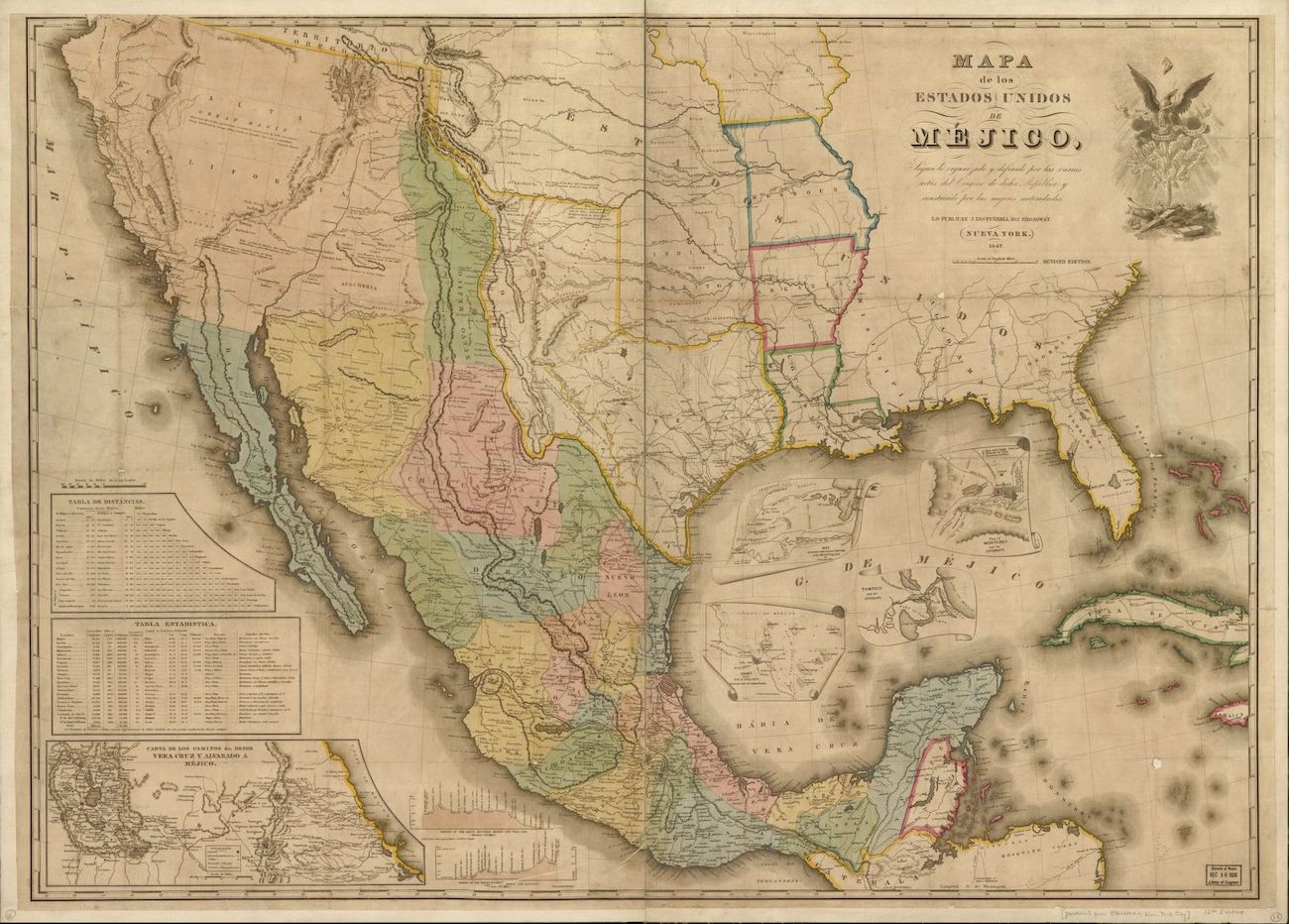 Sepia and color map of Mexico and the southwestern US showing Mexican influence