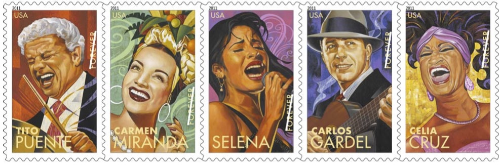 Horizontal strip of five brightly colored first-class US stamps depicting Latin musicians and singers
