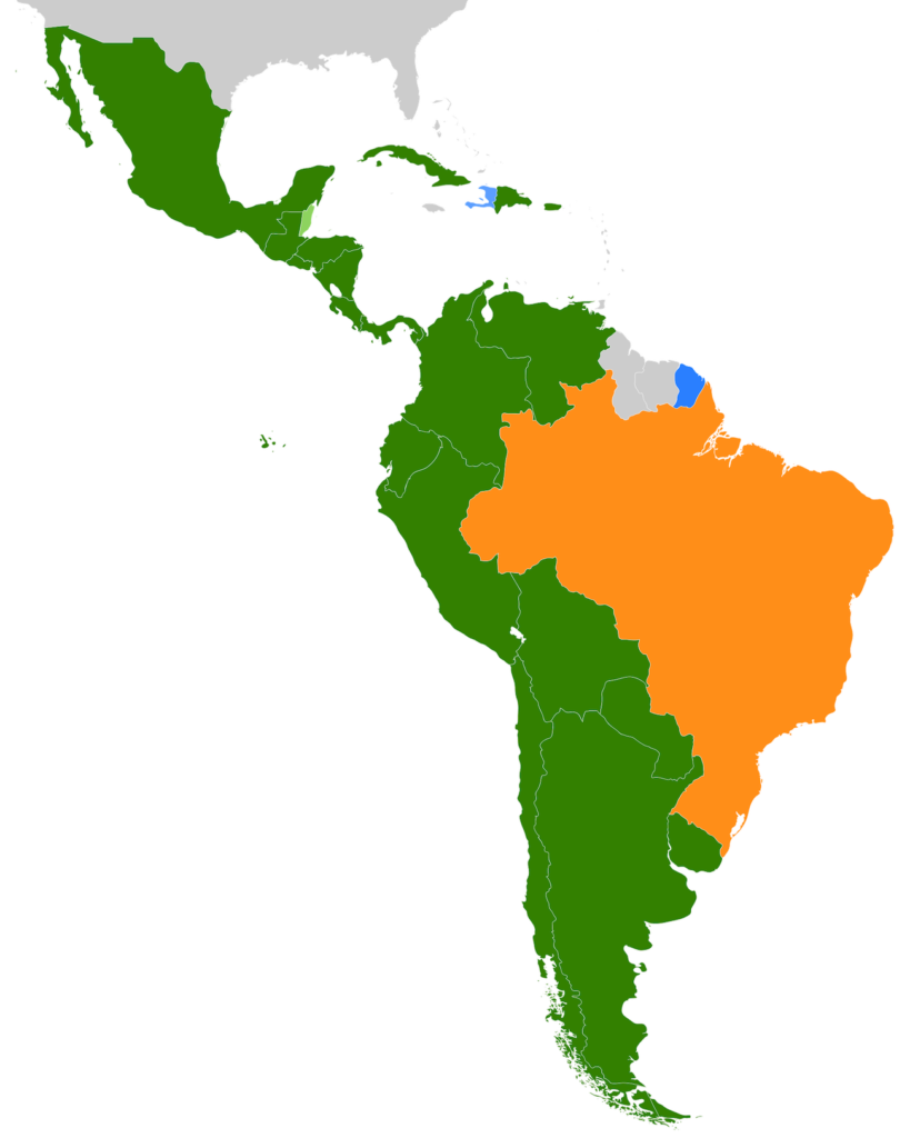 Schematic map of Central and South America with countries in orange, green, or blue depending on their dominant language