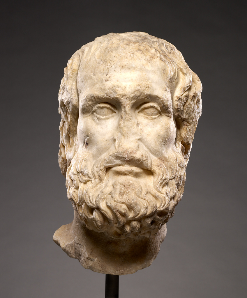 Marble head of a middle-aged man with wavy hair and a curly beard