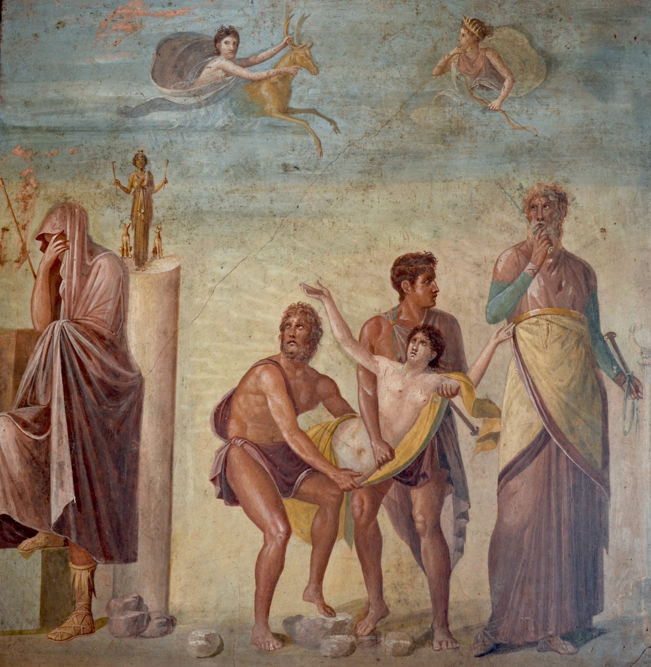 Wall painting in blues and reds showing a young nude woman being carried against her will by two women, while her father turns away and weeps