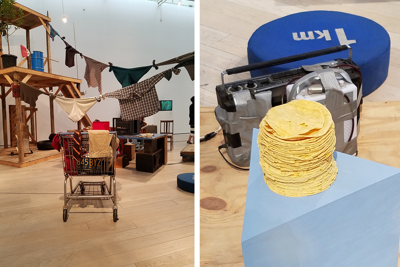 Autoconstrucción (2010) by Abraham Cruzvillegas in Home—So Different, So Appealing at LACMA. Inset: A fresh stack of tortillas that are part of Autoconstrucción. Photos: Selene Preciado