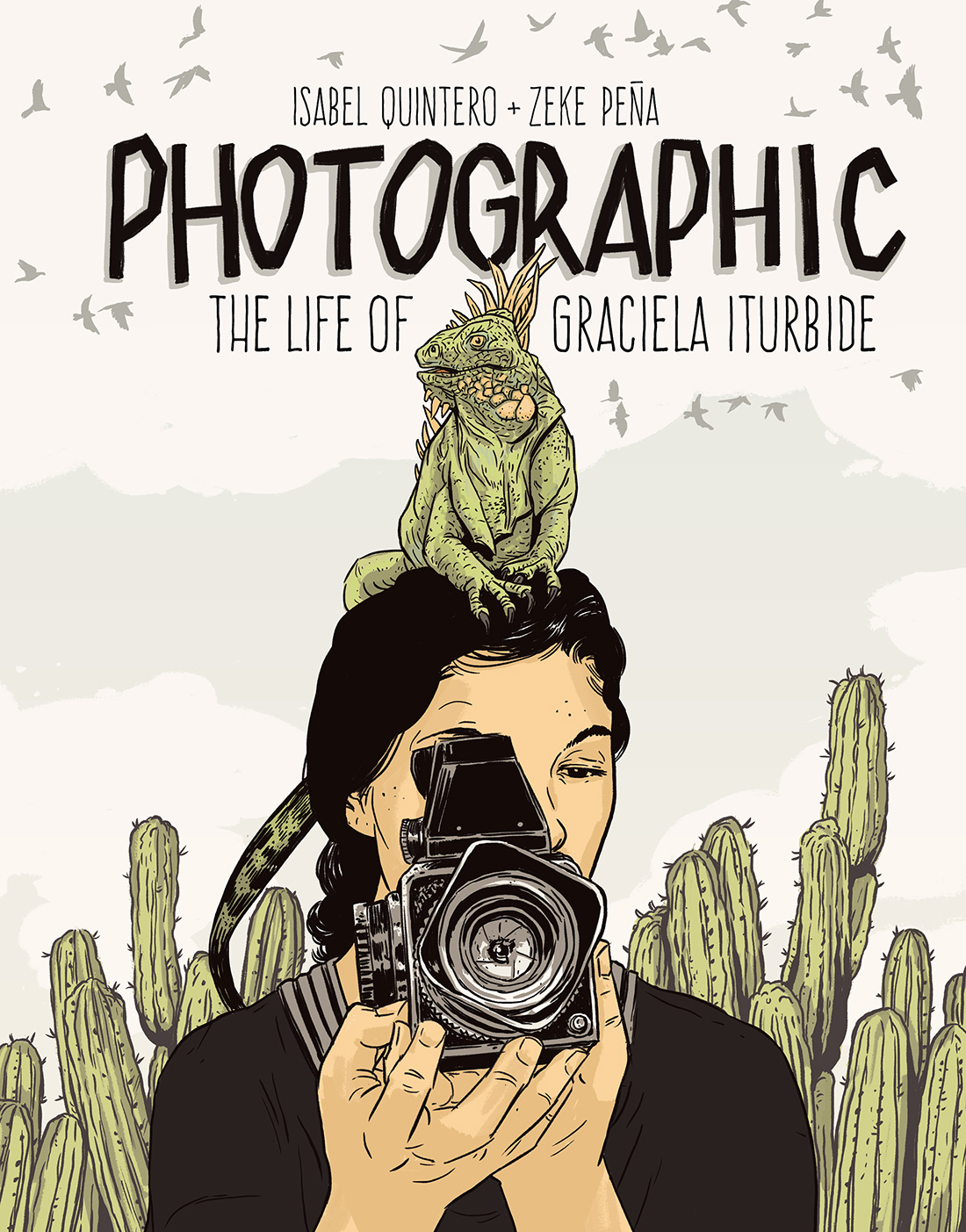 Book cover featuring an illustration of a woman in the center holding a camera. She has an iguana on her head.