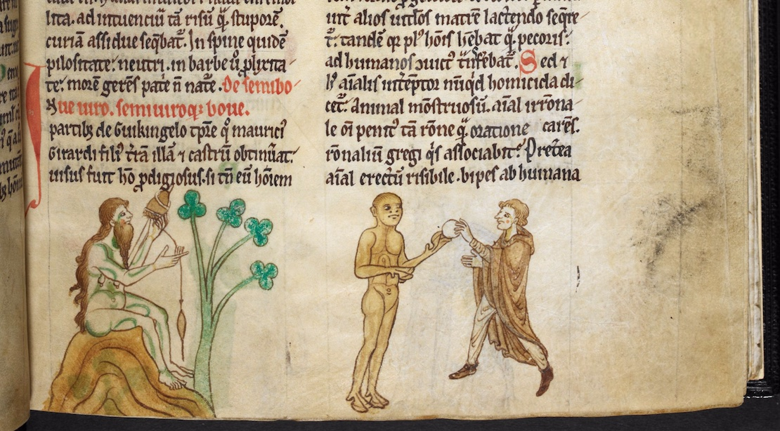 Three imaginary figures standing in the bottom margin of a medieval manuscript