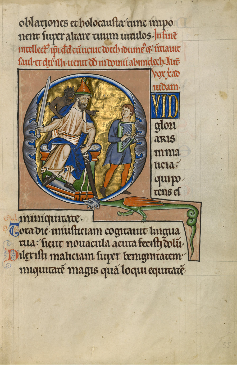 An illuminated manuscript with the letter Q framing a throned king wielding a sword with a demon behind him, a young man with a harp and a dragon below.