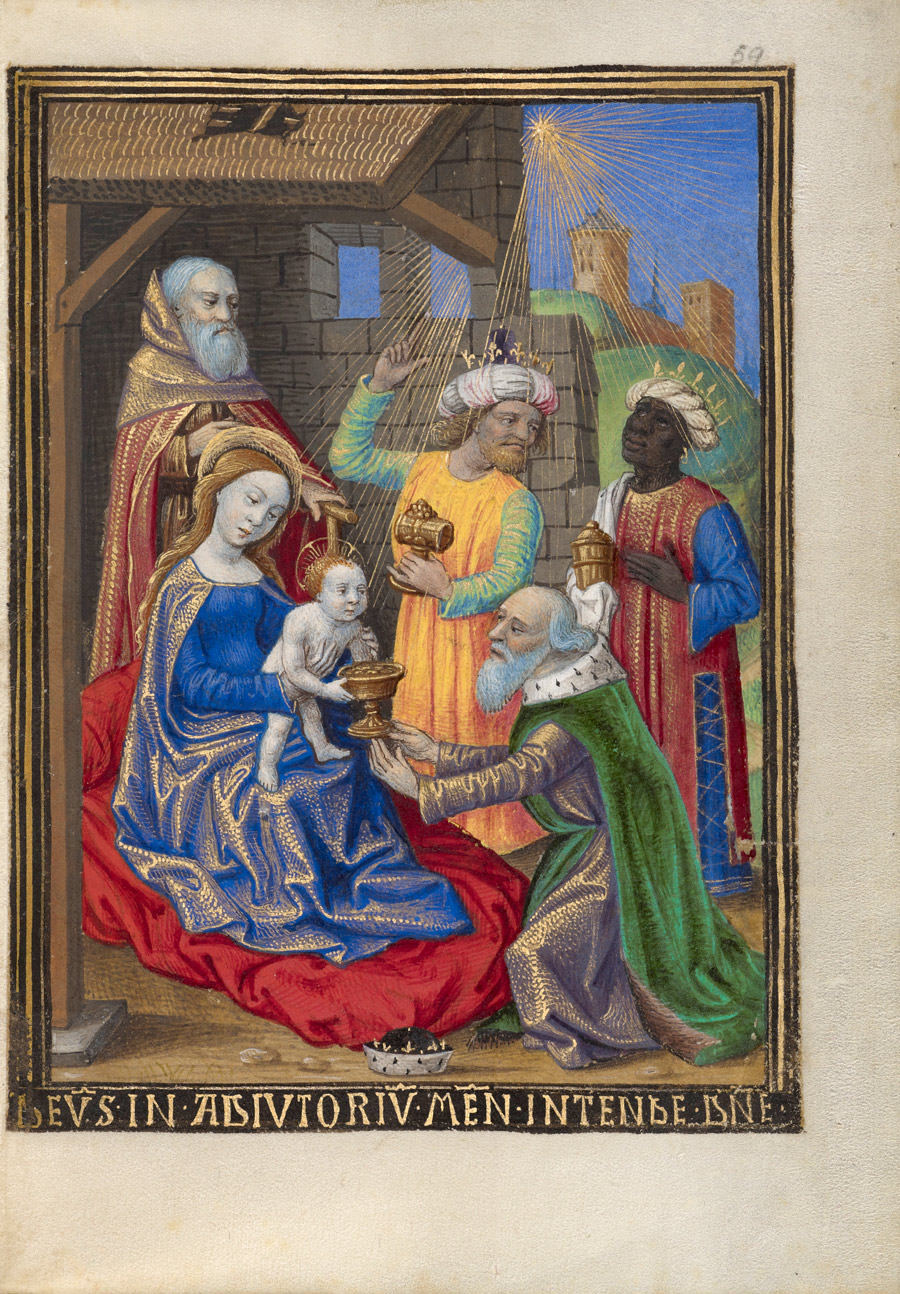 In front of a bearded man, a haloed woman and baby receive a gift from a bowing man with beard. Two crowned men with gifts stand behind with a star sending rays from above.