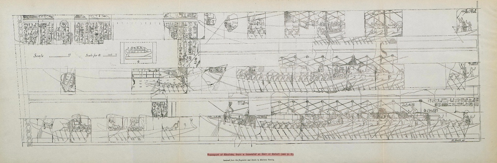 Line drawing showing a schematic diagram of how an ancient obelisk would be transported by ship