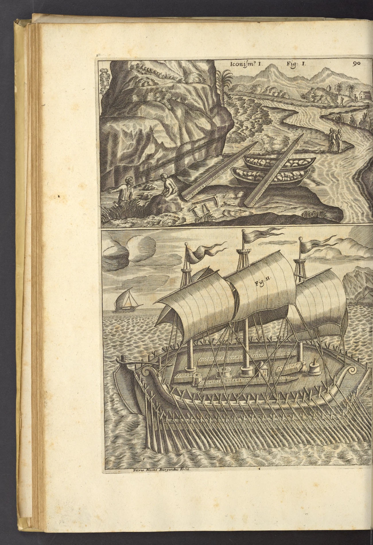 Engraving with two scenes: at top, two rowboats being used to move two obelisks; at bottom, a ship with three large sails and many oars transports the obelisks on its deck