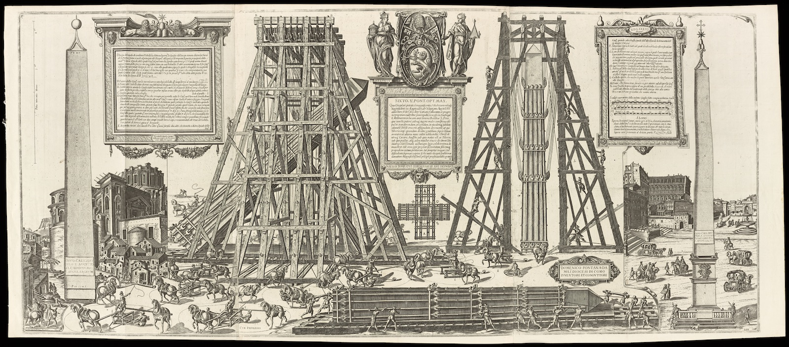 Engraving showing workers using wooden scaffolding to erect an ancient Egyptian obelisk