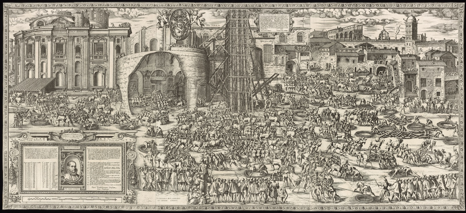 Engraving showing workers lowering a massive obelisk using wooden scaffolding