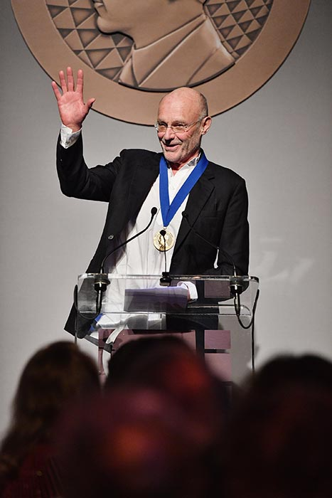 Anselm Kiefer speaking at podium at Getty Medal Dinner
