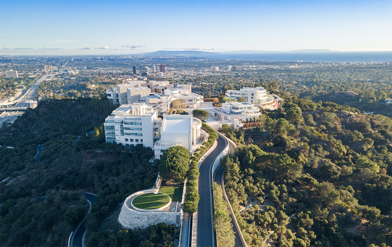 Aerial view of the Getty Center looking out towards the Pacific Ocean.